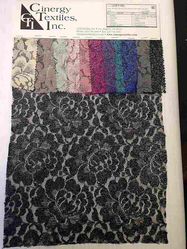 LACE-F-095L / Woven Lace With Foil 60%Cotton 40%Nylon