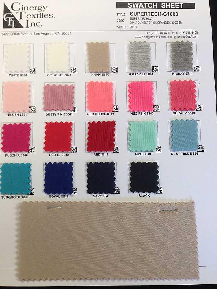 <h2>SUPERTECH-G1600</h2> / FAMILY          / Super Techno Knit 95%Polyester 5%Spandex