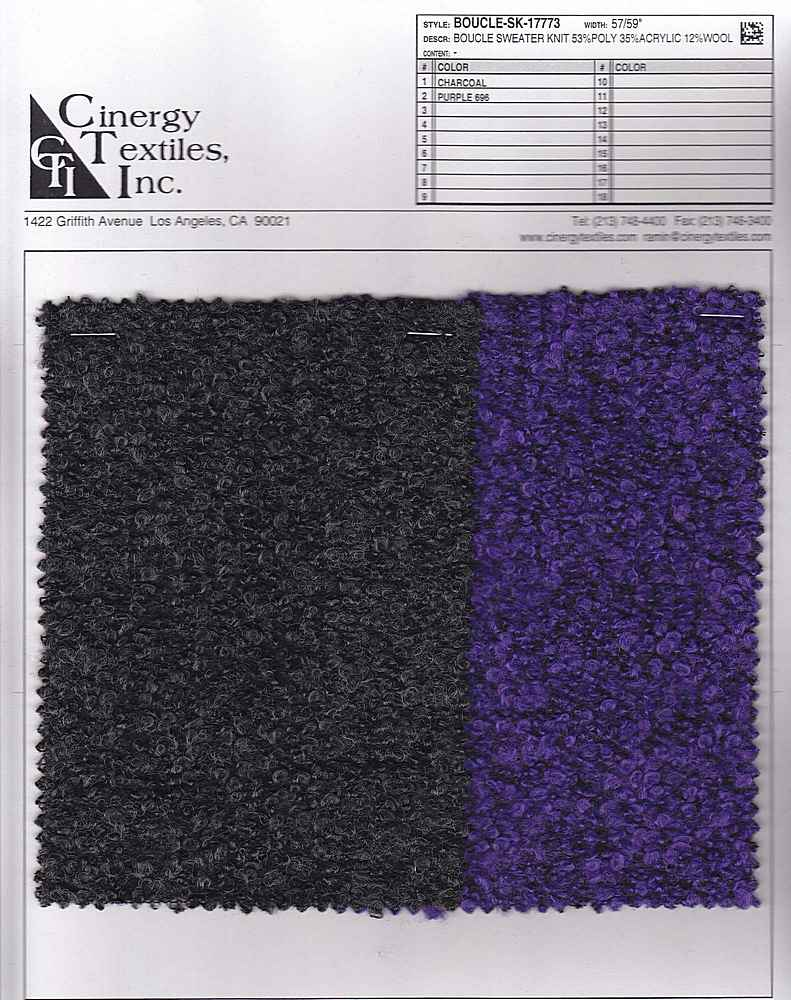 <h2>BOUCLE-SK-17773</h2> / FAMILY          / Boucle Sweater Knit 53%Poly 35%Acrylic 12%Wool