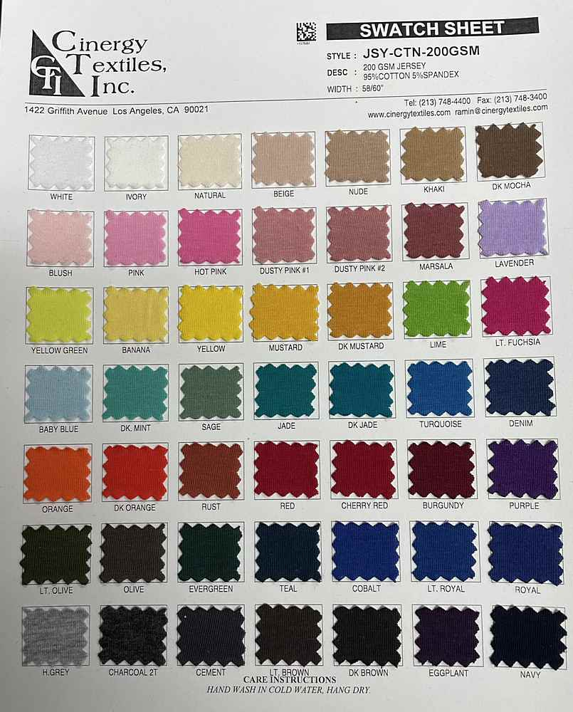 <h2>JSY-CTN-200GSM</h2> / FAMILY          / 200 GSM Jersey 95%Cotton 5%Spandex