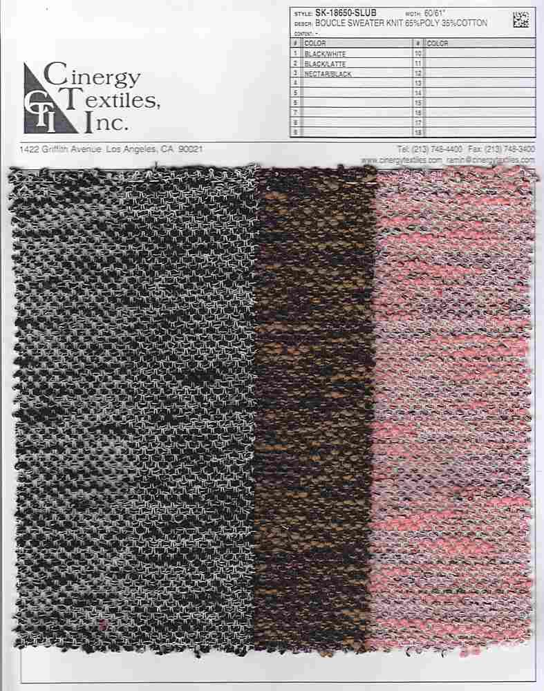 <h2>SK-18650-SLUB</h2> / FAMILY          / Boucle Sweater Knit 65%Poly 35%Cotton