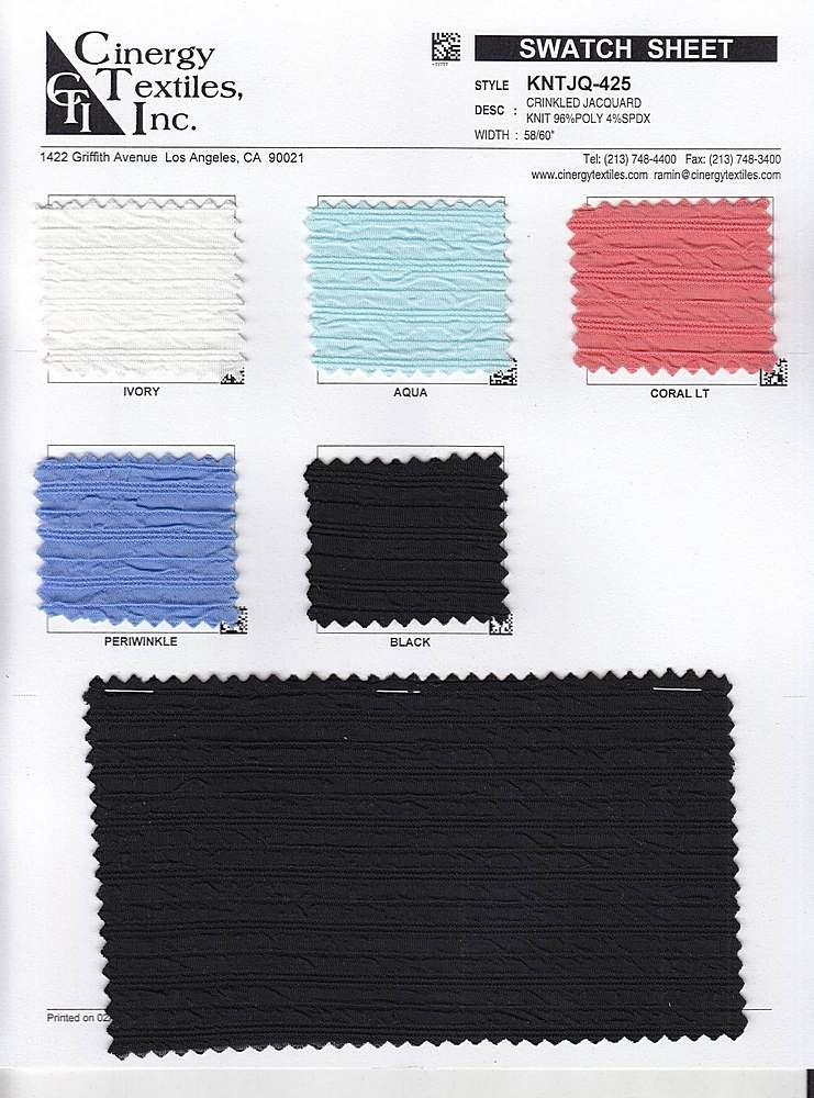 <h2>KNTJQ-425</h2> / FAMILY          / Crinkled Jacquard Knit 96%Poly 4%Spdx