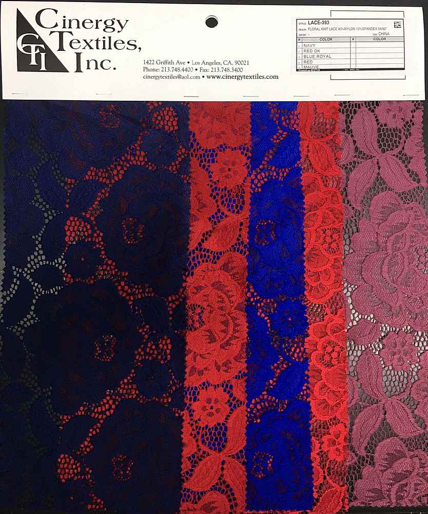 <h2>LACE-393</h2> / FAMILY          / Floral Knit Lace 90%Nylon 10%Spandex