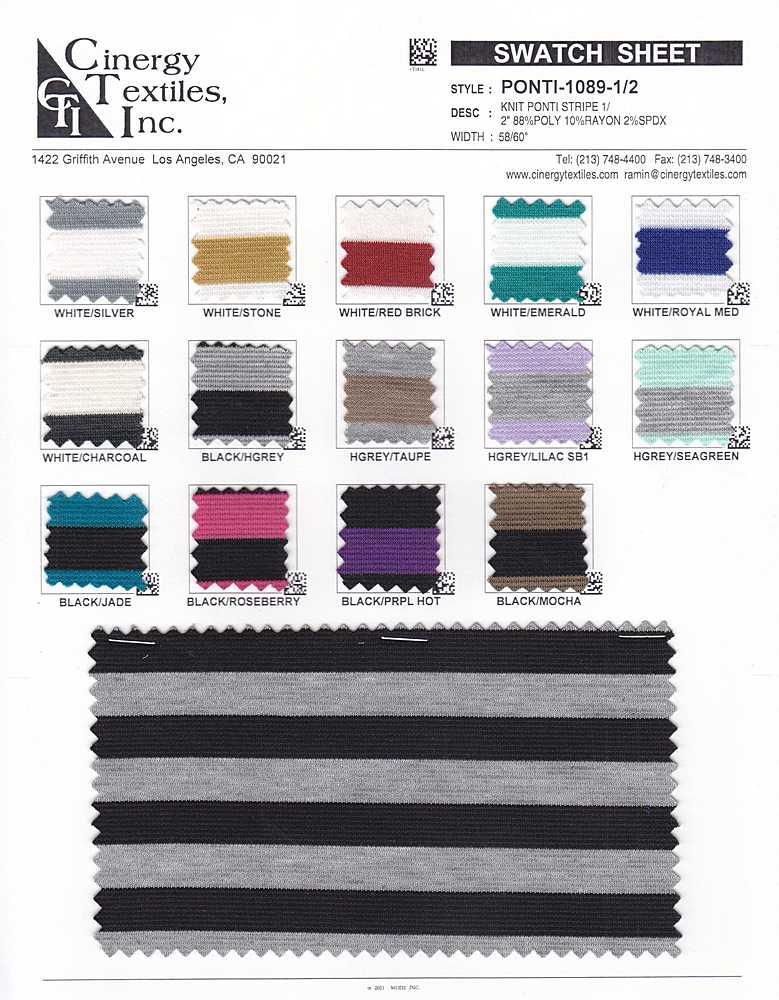 """PONTI-1089-1/2 / Knit Ponti Stripe 1/2"""" 88%Poly 10%Rayon 2%Spdx"""
