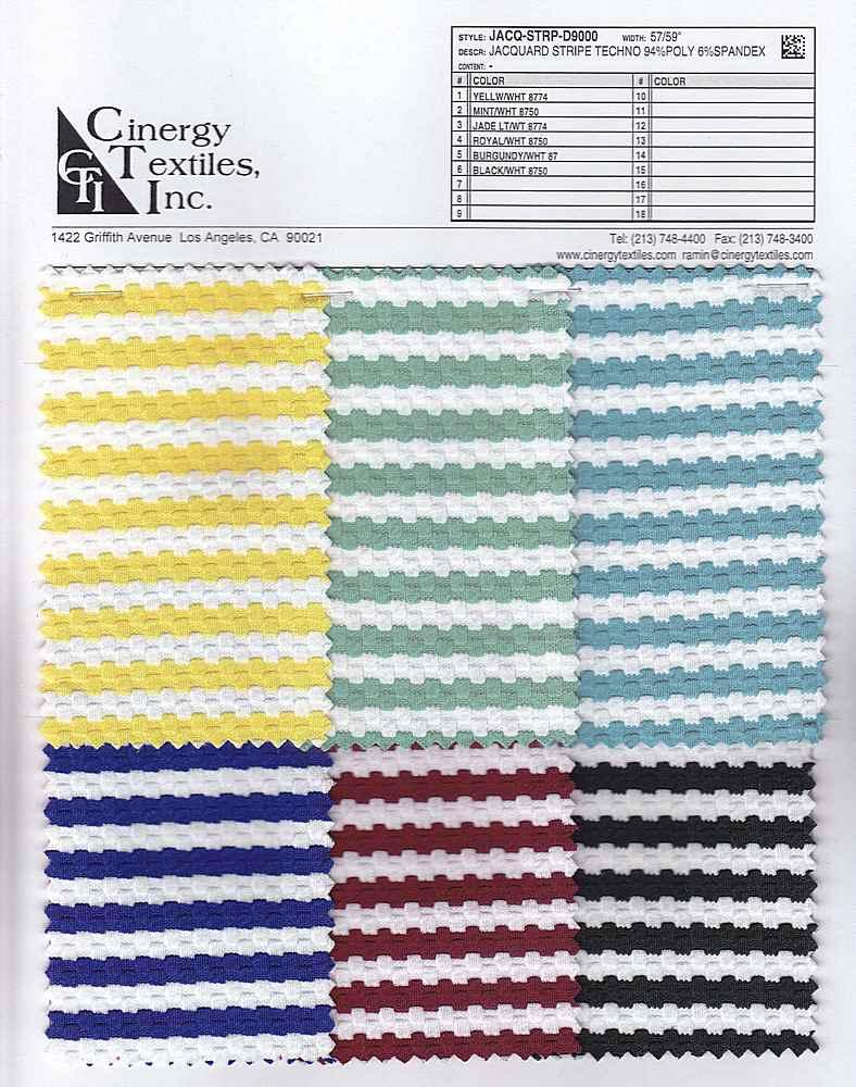 <h2>JACQ-STRP-D9000</h2> / FAMILY          / Jacquard Stripe Techno Knit 94%Poly 6%Spandex