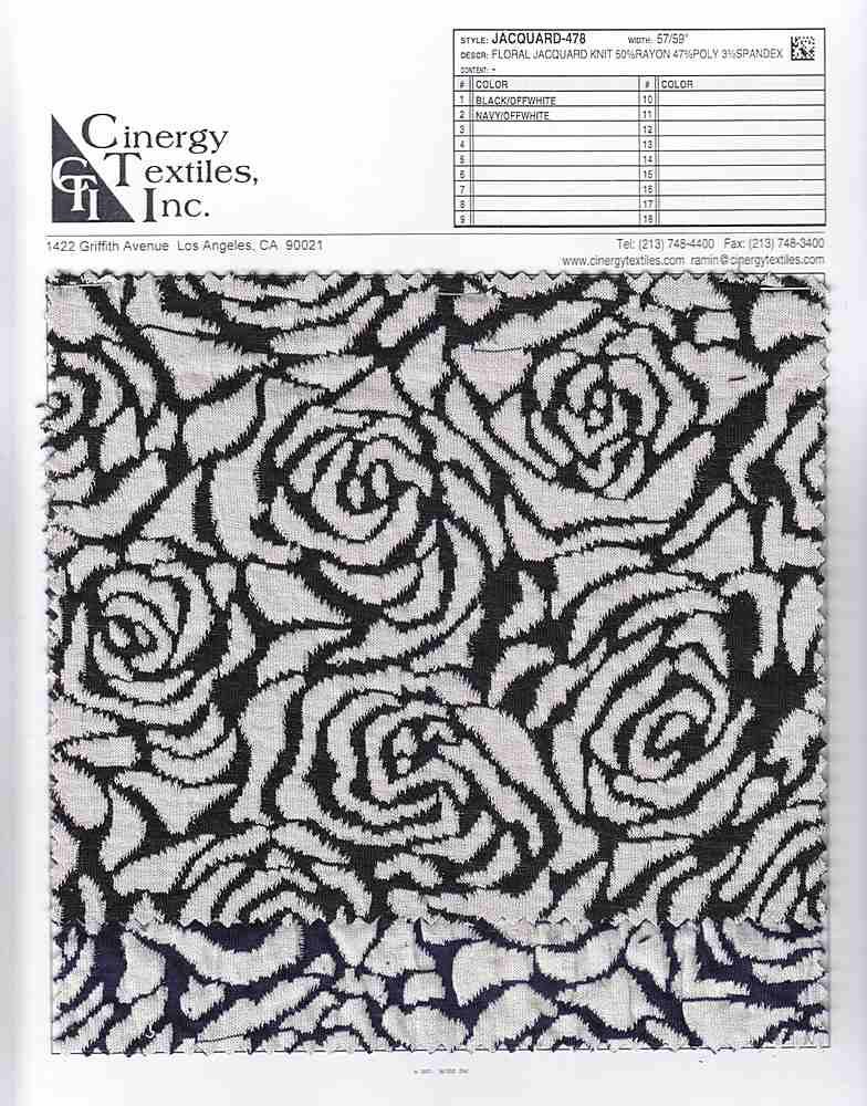 <h2>JACQUARD-478</h2> / FAMILY          / Floral Jacquard Knit 50%Rayon 47%Poly 3%Spandex