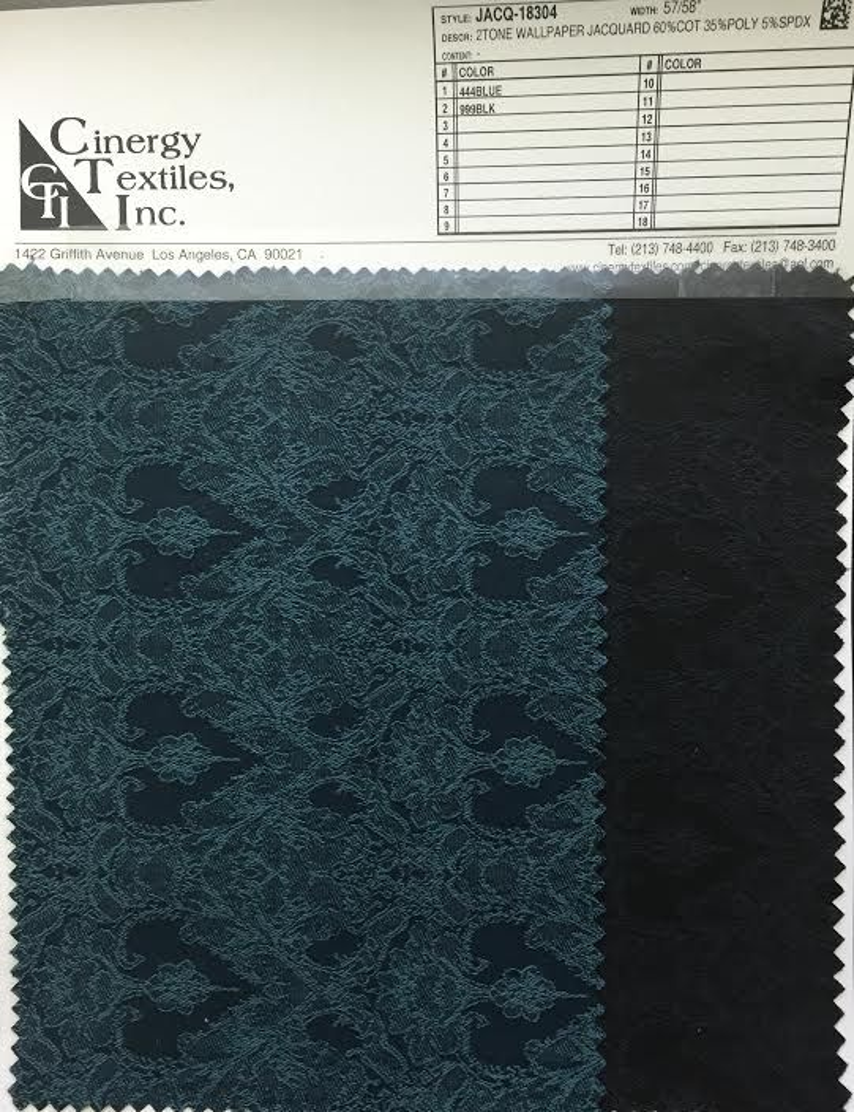 <h2>JACQ-18304</h2> / FAMILY          / 2Tone Wallpaper Jacquard 60%Cotton 35%Poly 5%Spdx