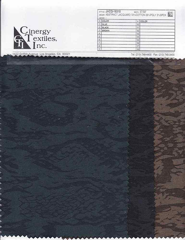 <h2>JACQ-18310</h2> / FAMILY          / Abstract Jacquard 72%Cotton 25%Poly 3%Spdx