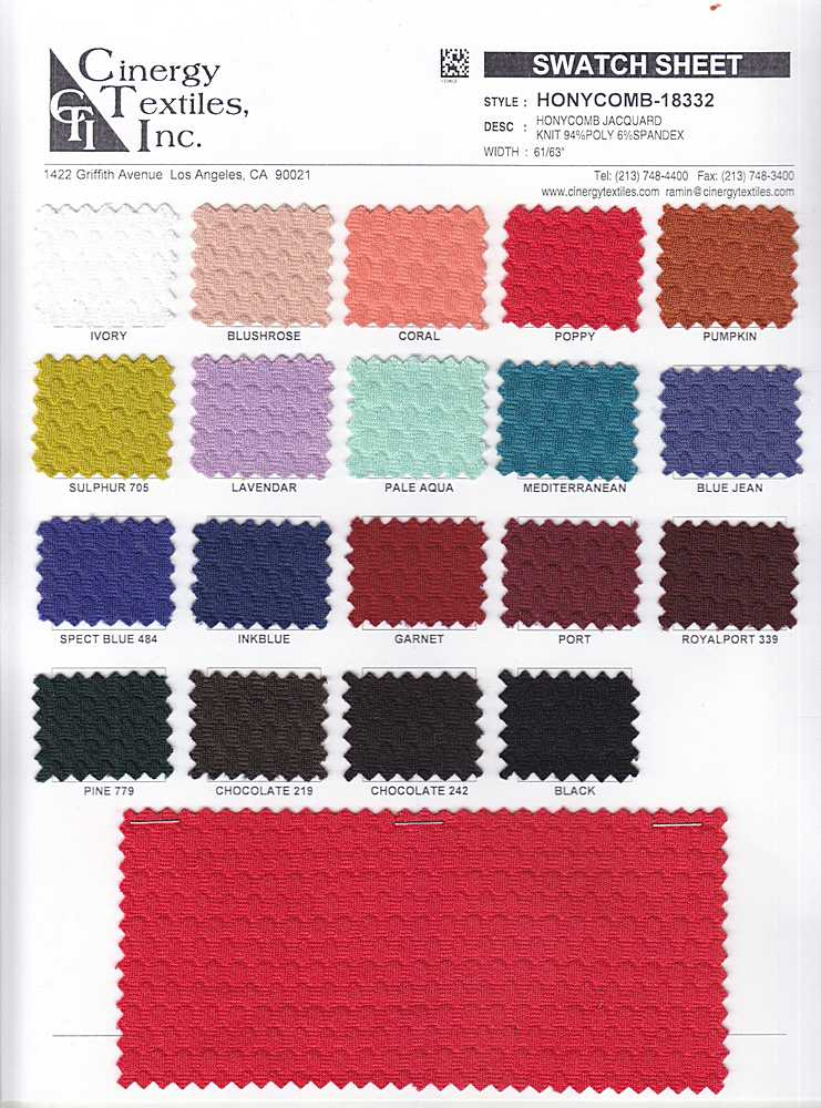 <h2>HONYCOMB-18332</h2> / FAMILY          / Honycomb Jacquard Knit 94%Poly 6%Spandex