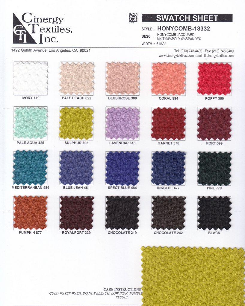 <h2>HONYCOMB-18332</h2> / FAMILY          / Honycomb Jacquard Knit 94%Poly 6%Spandex