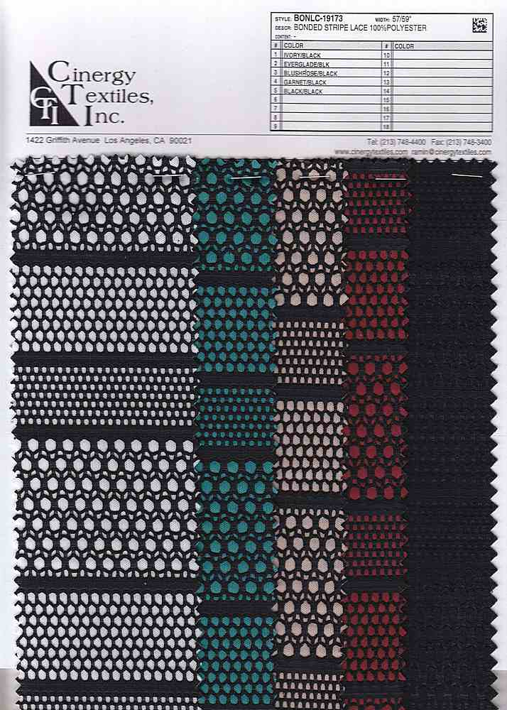 <h2>BONLC-19173</h2> / FAMILY          / Bonded Stripe Lace 100%Polyester