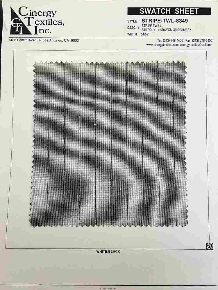 <h2>STRIPE-TWL-8349</h2> / FAMILY          / Stripe Twill 83%Poly 14%Rayon 3%Spandex
