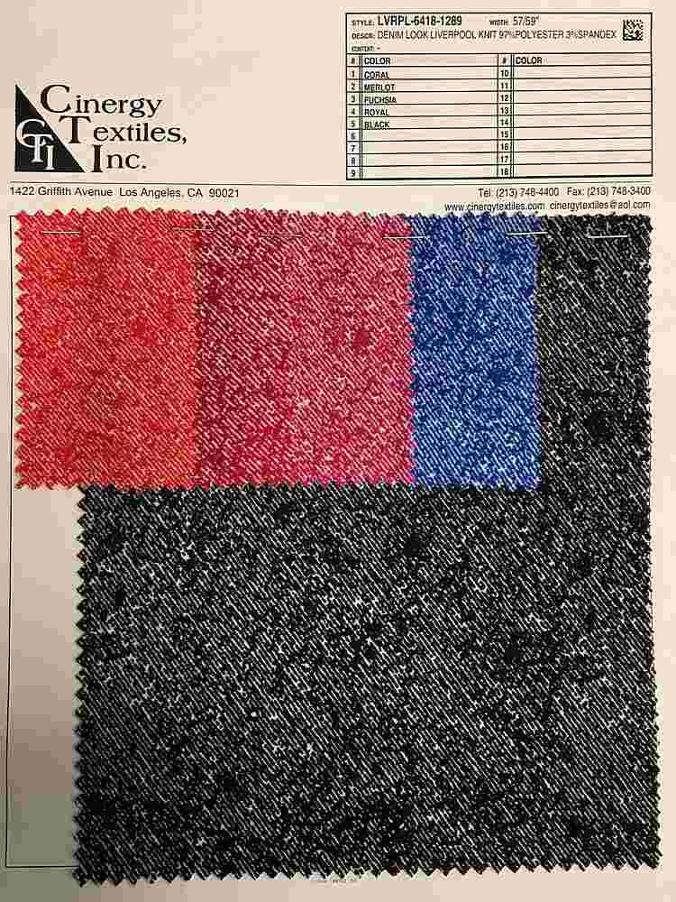 <h2>LVRPL-6418-1289</h2> / FAMILY          / Denim Look Liverpool Knit 97%Polyester 3%Spandex