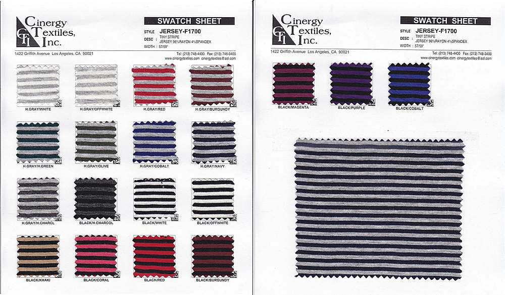 <h2>JERSEY-F1700</h2> / FAMILY          / Tiny Stripe Jersey 96%Rayon 4%Spandex