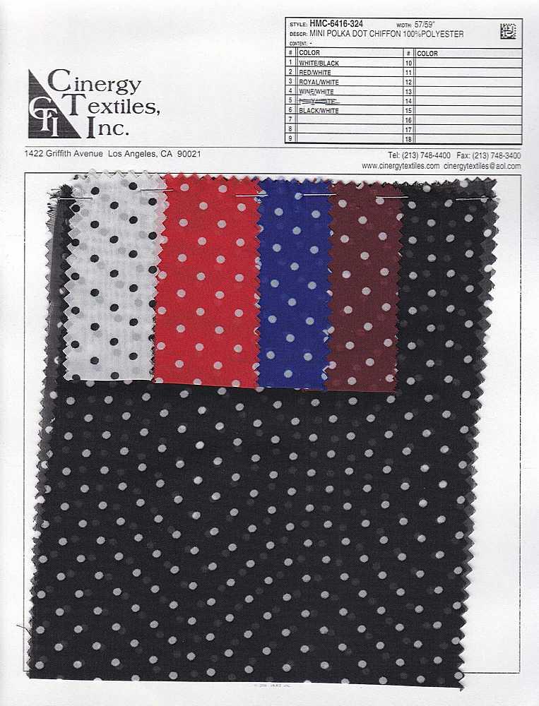 HMC-6416-324 / Mini Polka Dot Chiffon 100%Polyester