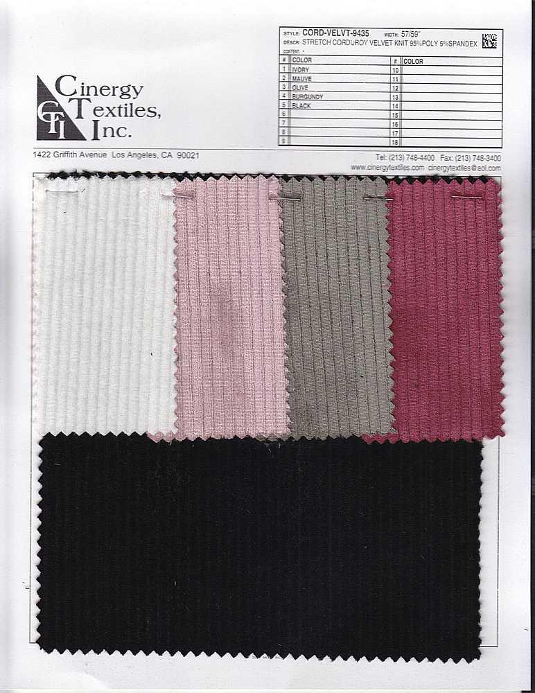 CORD-VELVT-9435 / Stretch Corduroy Velvet Knit 95%Poly 5%Spandex