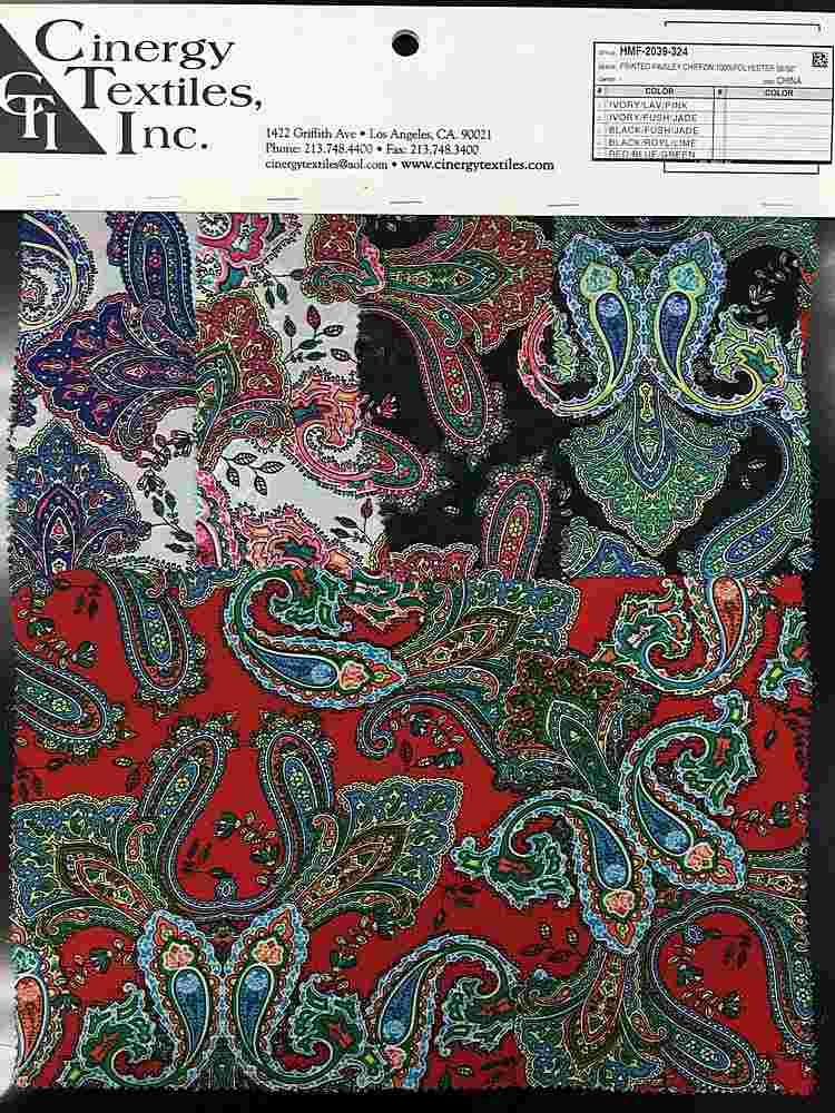 HMC-2039-324 / Printed Paisley Chiffon 100%Polyester