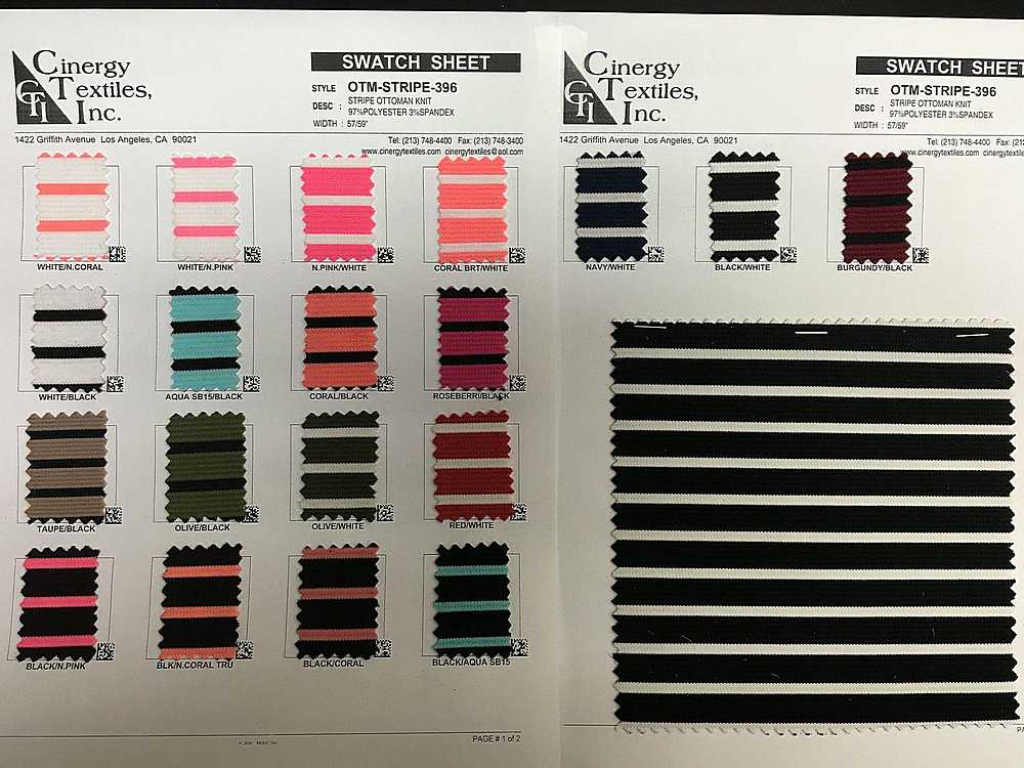 OTM-STRIPE-396 / Stripe Ottoman Knit 97%Polyester 3%Spandex