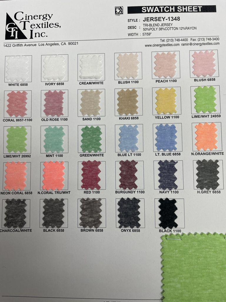 JERSEY-1348 / Tri-Blend Jersey 50%Poly 38%Cotton 12%Rayon