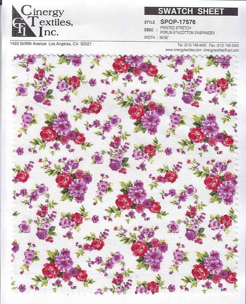 SPOP-17576 / Printed Stretch Poplin 97%Cotton 3%Spandex