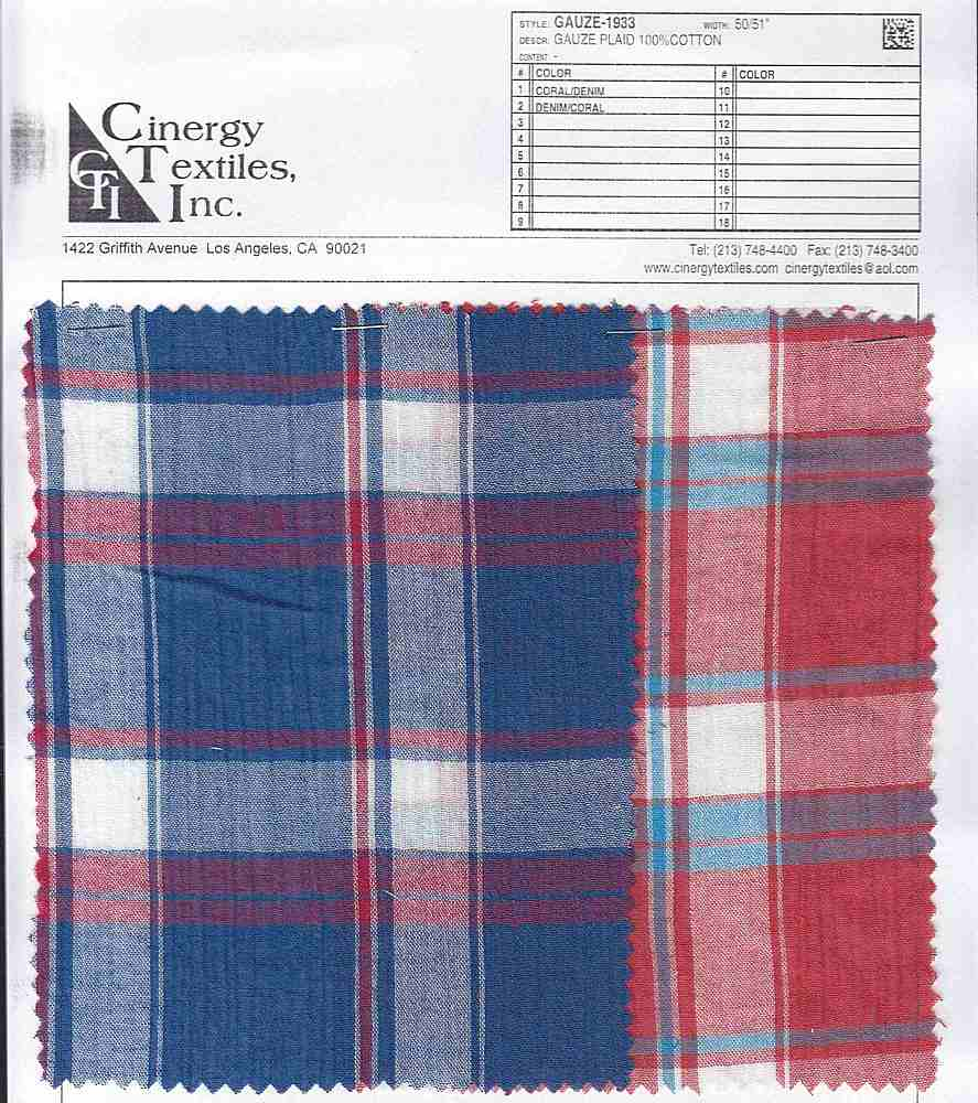 GAUZE-1933 / Gauze Plaid 100%Cotton