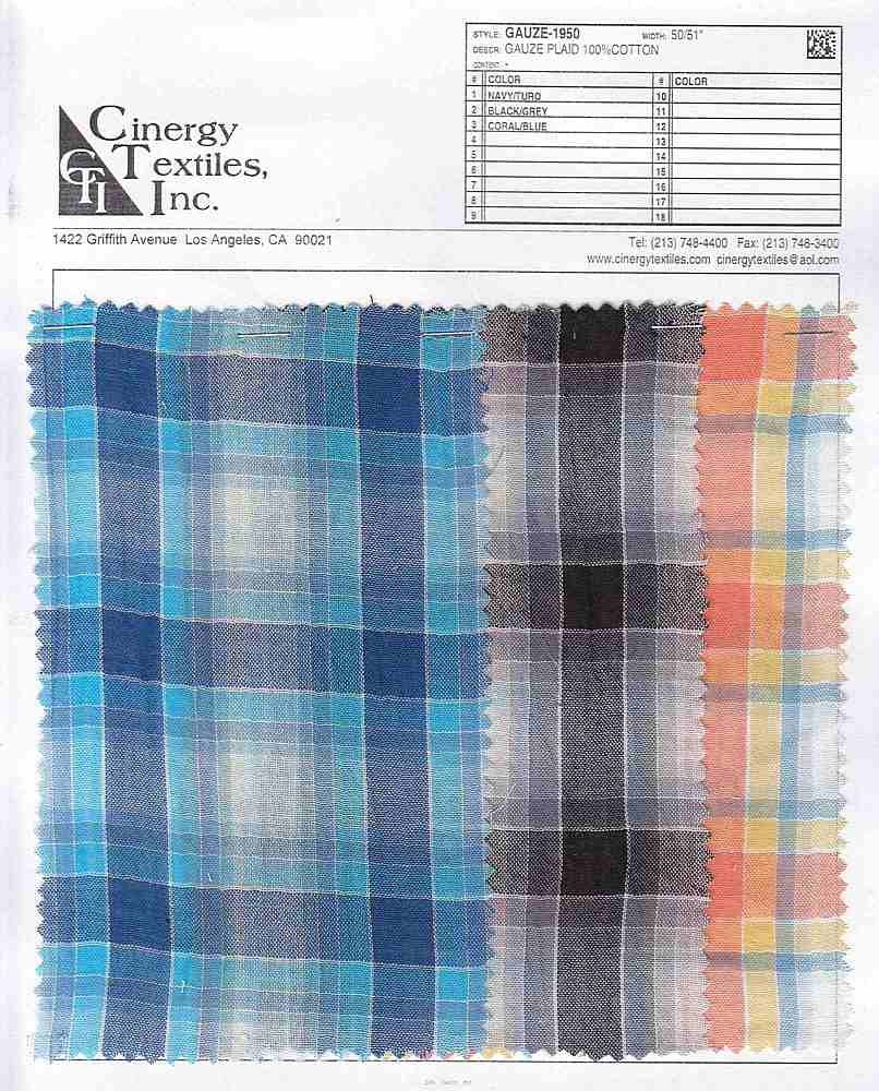 GAUZE-1950 / Gauze Plaid 100%Cotton