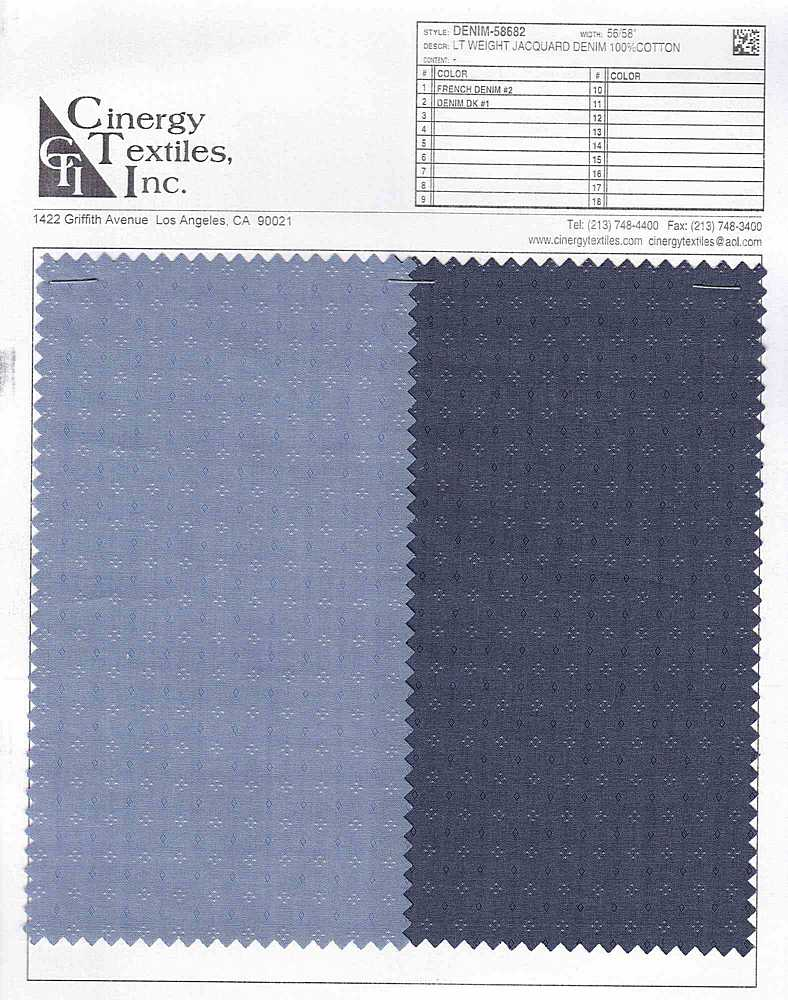 DENIM-58682 / Lt Weight Jacquard Denim 100%Cotton
