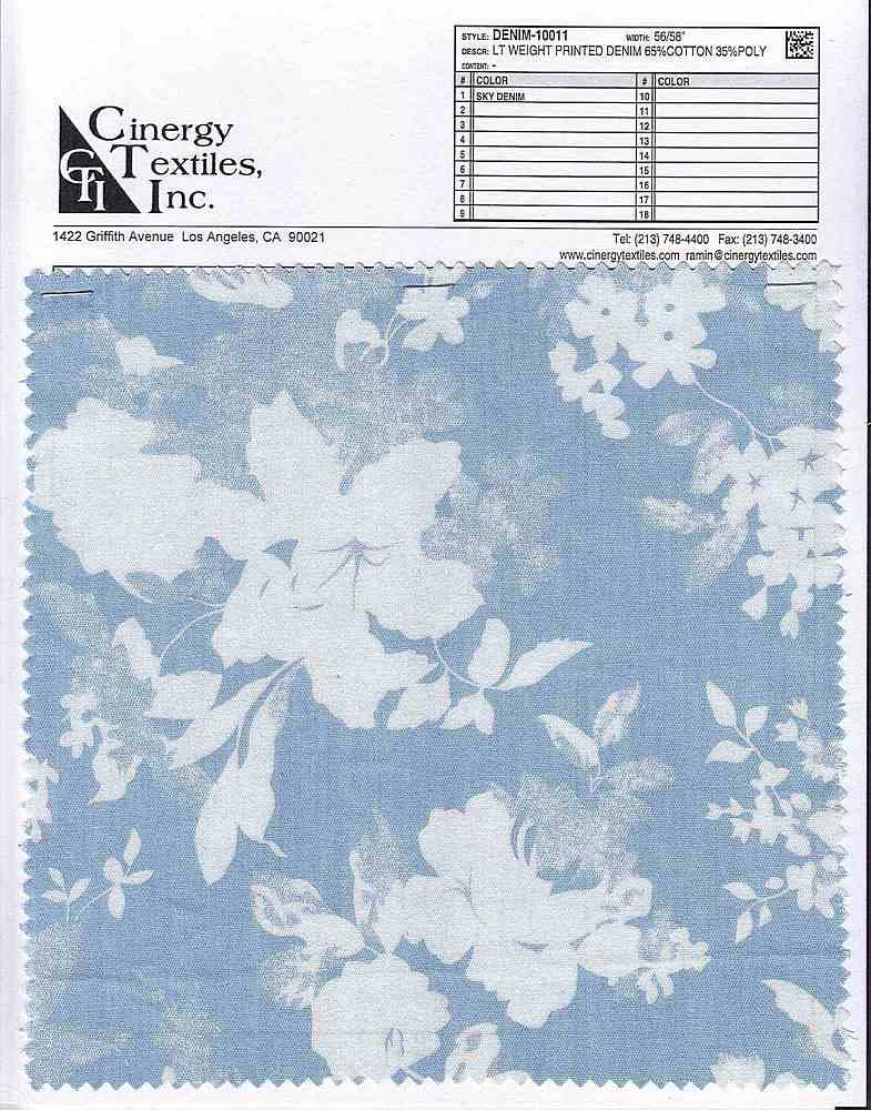 <h2>DENIM-10011</h2> / FAMILY          / Lt Weight Printed Denim 65%Cotton 35%Poly