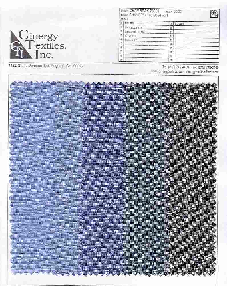 <h2>CHAMBRAY-78500</h2> / FAMILY          / Chambray 100%Cotton