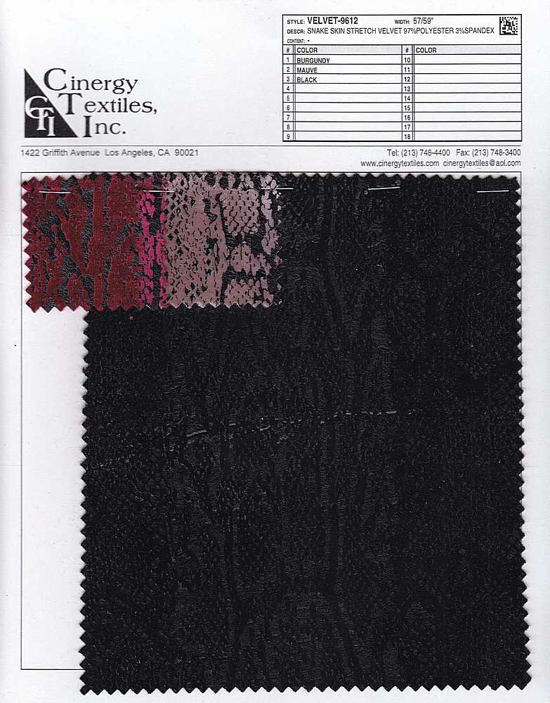 <h2>VELVET-9612</h2> / FAMILY          / Snake Skin Stretch Velvet 97%Polyester 3%Spandex