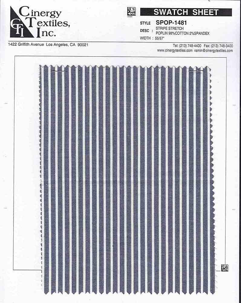 SPOP-1481 / Stripe Stretch Poplin 98%Cotton 2%Spandex