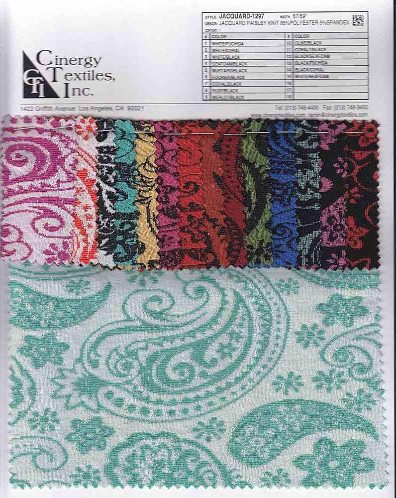 <h2>JACQUARD-1297</h2> / FAMILY          / Jacquard Paisley Knit 95%Polyester 5%Spandex