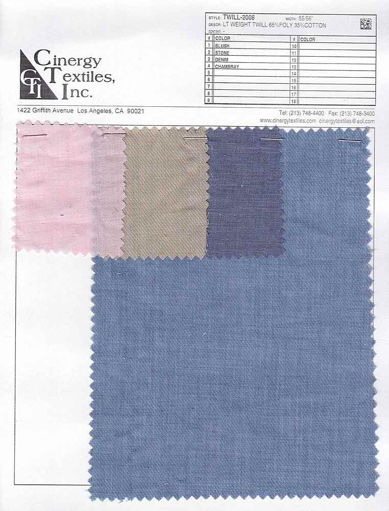 TWILL-2008 / LT WEIGHT TWILL 65%POLY 35%COTTON