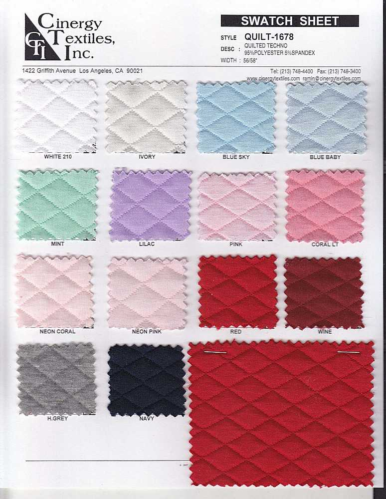 <h2>QUILT-1678</h2> / FAMILY          / Quilted Techno 95%Polyester 5%Spandex