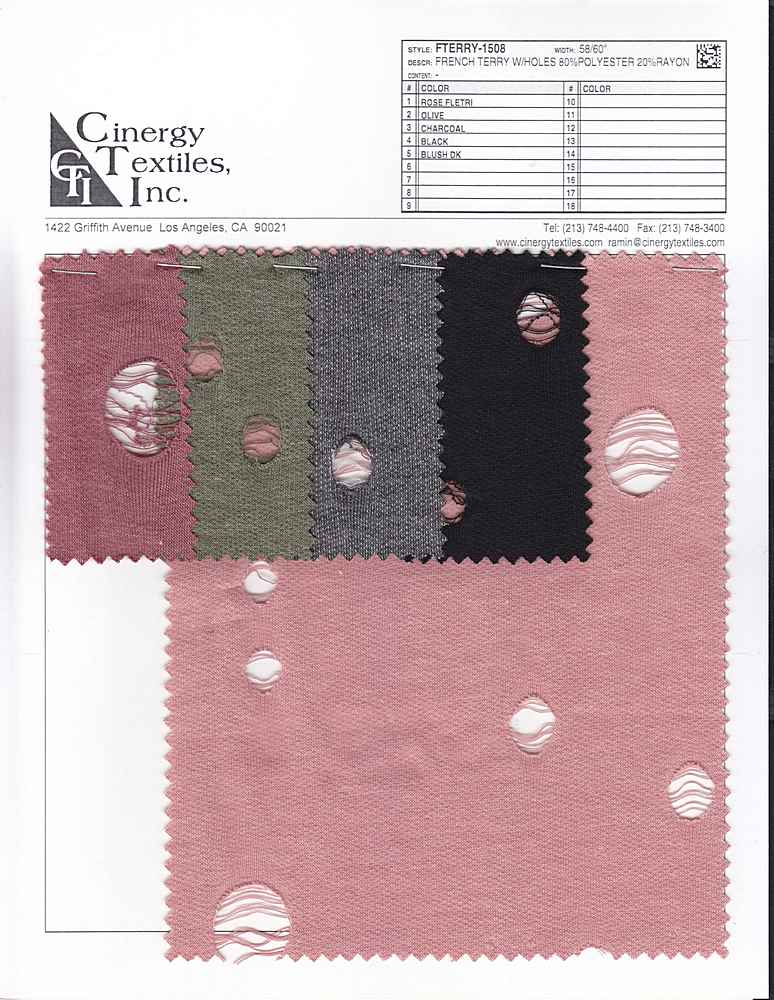 FTERRY-1508 / French Terry W/Holes 80%Polyester 20%Rayon