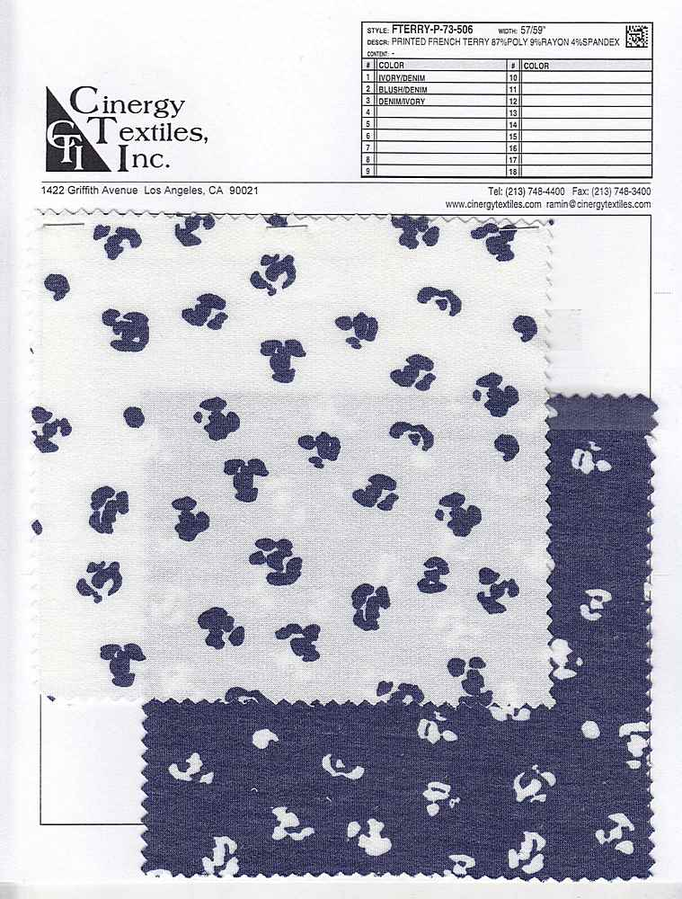 FTERRY-P-73-506 / Printed French Terry 87%Poly 9%Rayon 4%Spandex
