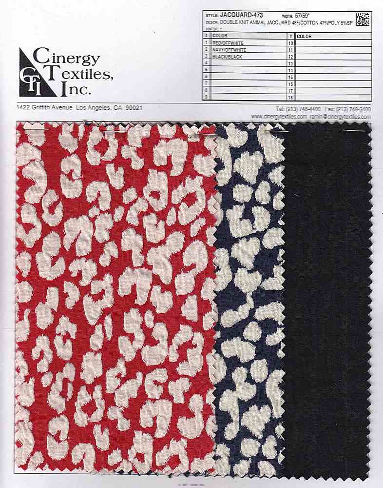 <h2>JACQUARD-473</h2> / FAMILY          / Double Knit Animal Jacquard 48%Cotton 47%Poly 5%SP
