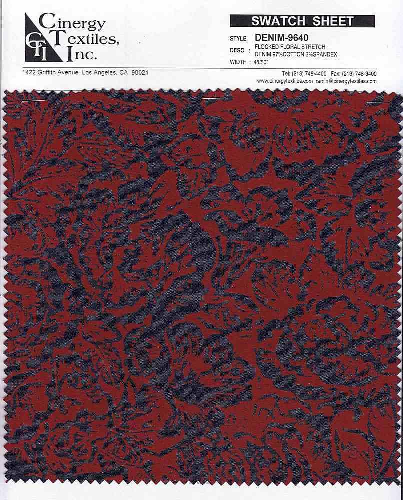 DENIM-9640 / Flocked Floral Stretch Denim 97%Cotton 3%Spandex