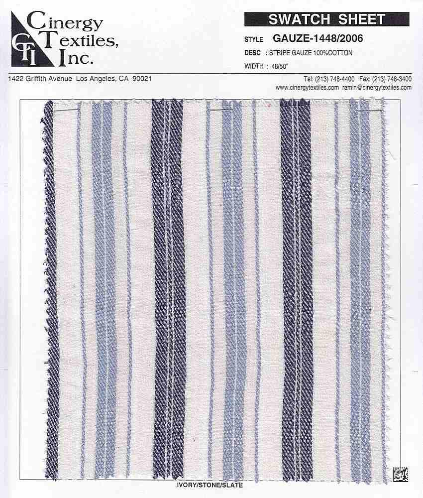 GAUZE-1448/2006 / Stripe Gauze 100%Cotton