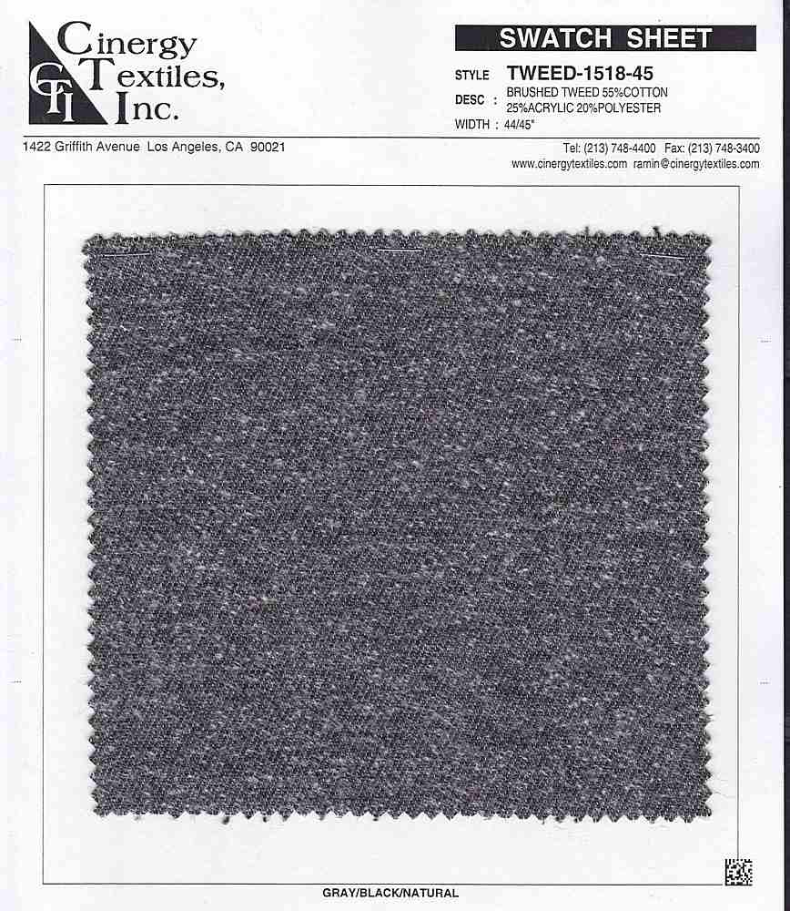 <h2>TWEED-1518-45</h2> / FAMILY          / Brushed Tweed 55%Cotton 25%Acrylic 20%Polyester