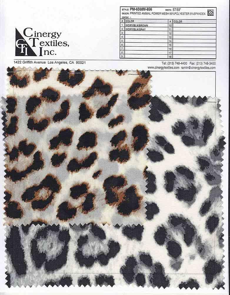 <h2>PM-6568M-856</h2> / FAMILY          / Printed Animal Power Mesh 95%Polyester 5%Spandex