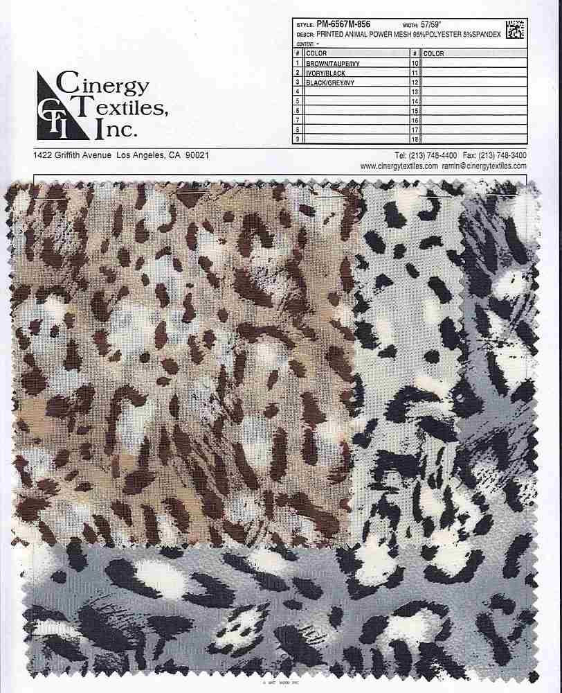 <h2>PM-6567M-856</h2> / FAMILY          / Printed Animal Power Mesh 95%Polyester 5%Spandex