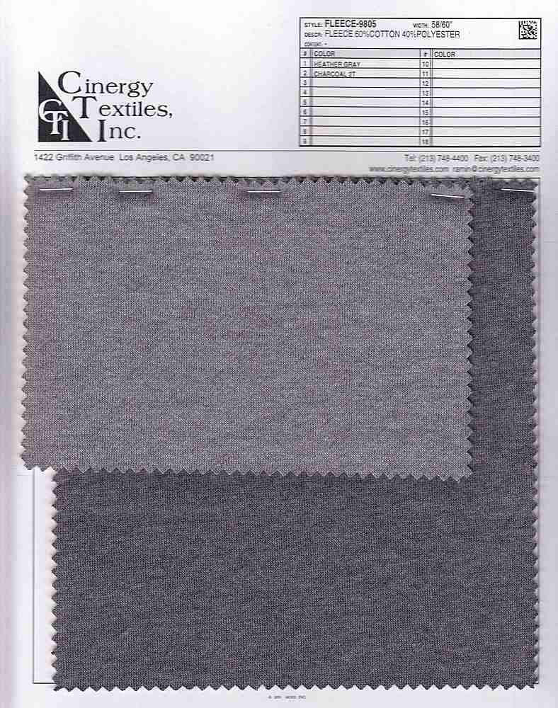 <h2>FLEECE-9805</h2> / FAMILY          / Fleece 60%Cotton 40%Polyester