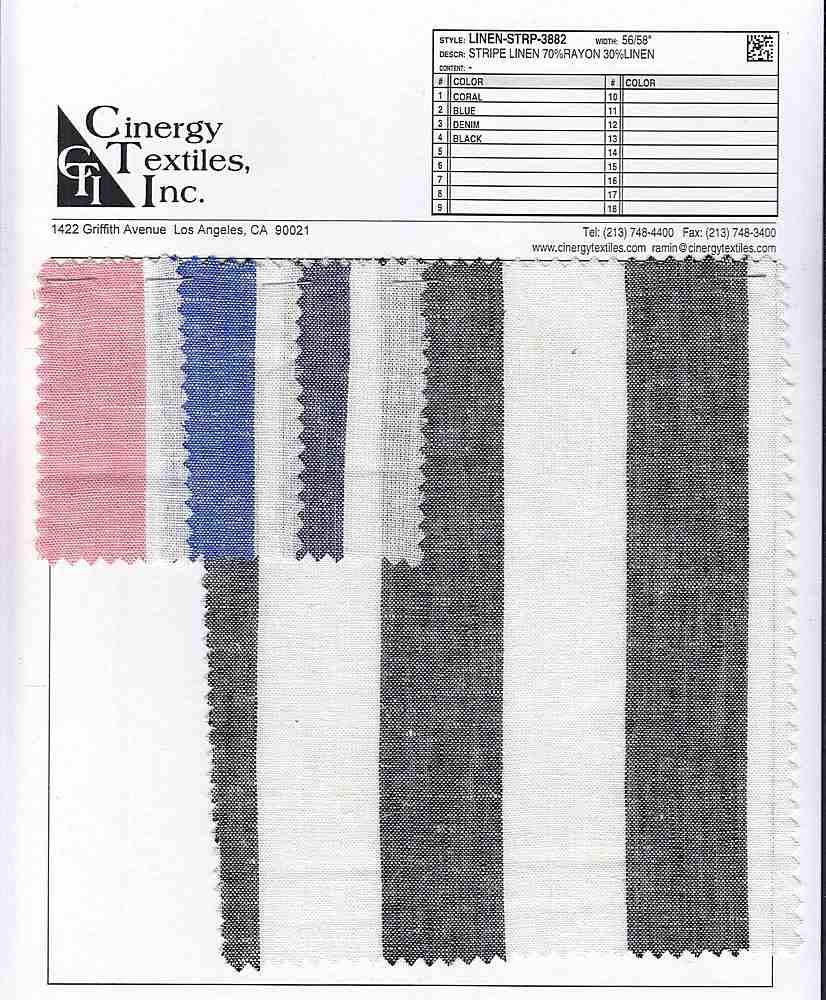 LINEN-STRP-3882 / Stripe Linen 70%Rayon 30%Linen