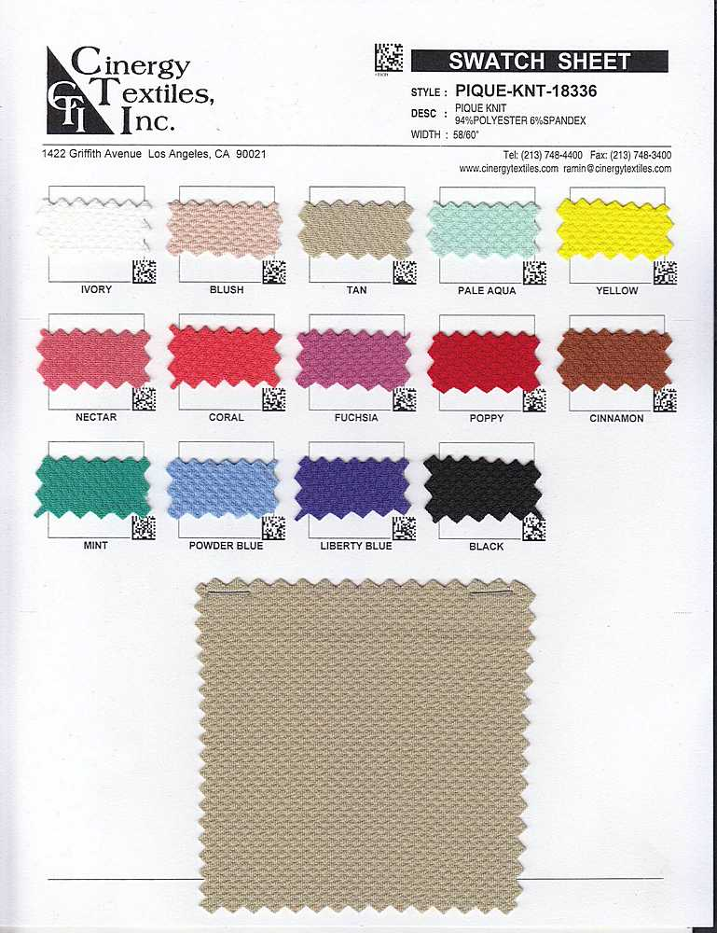 PIQUE-KNT-18336 / Pique Knit 94%Polyester 6%Spandex