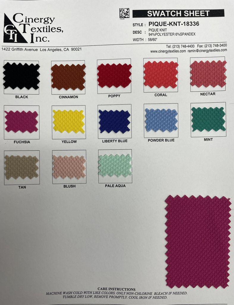 <h2>PIQUE-KNT-18336</h2> / FAMILY          / Pique Knit 94%Polyester 6%Spandex