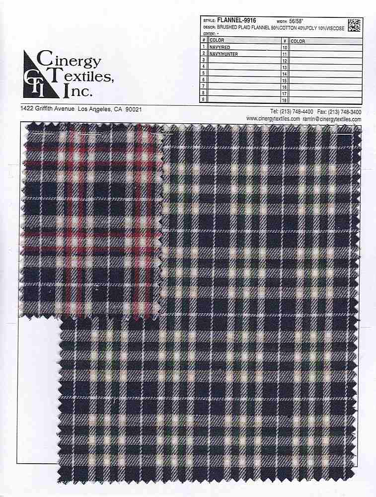 <h2>FLANNEL-9916</h2> / FAMILY          / Brushed Plaid Flannel 50%Cotton 40%Poly 10%Viscose