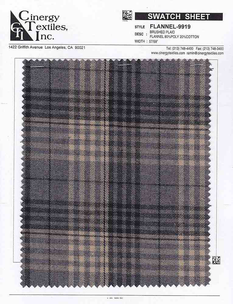 <h2>FLANNEL-9919</h2> / FAMILY          / Brushed Plaid Flannel 80%Poly 20%Cotton