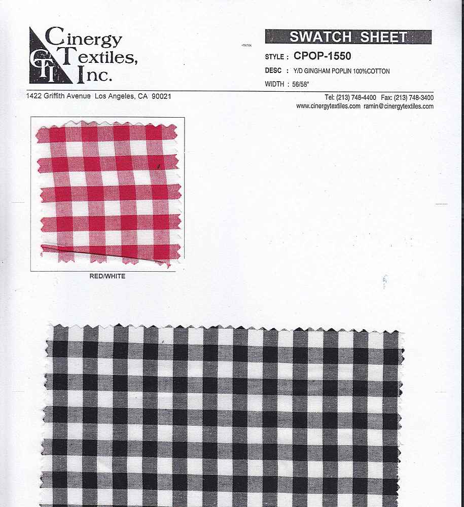 <h2>CPOP-1550</h2> / FAMILY          / Y/D Gingham Poplin 100%Cotton