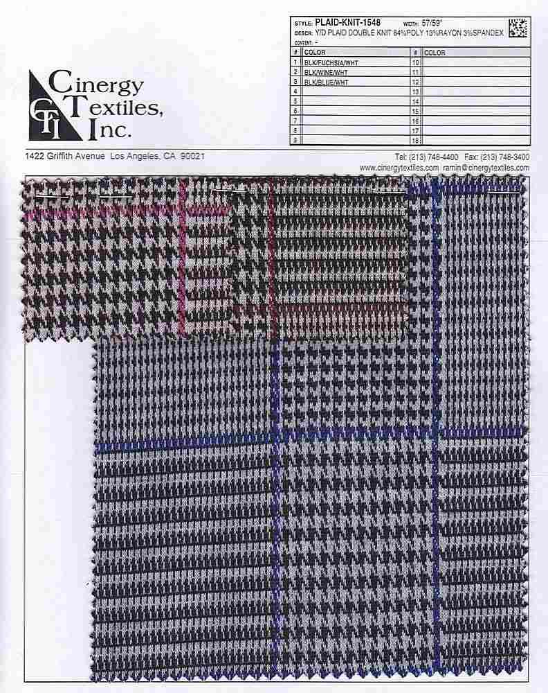 PLAID-KNIT-1548 / Y/D Plaid Double Knit 84%Poly 13%Rayon 3%Spandex